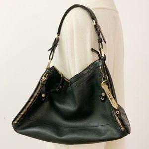Cole Hann Black Leather Shoulder Bag Gold Hardware